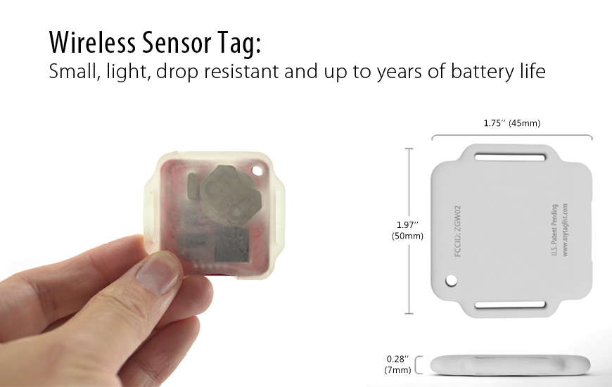 Wireless Motion Sensor Tag: Small, light, thin, tough and up to years of battery life